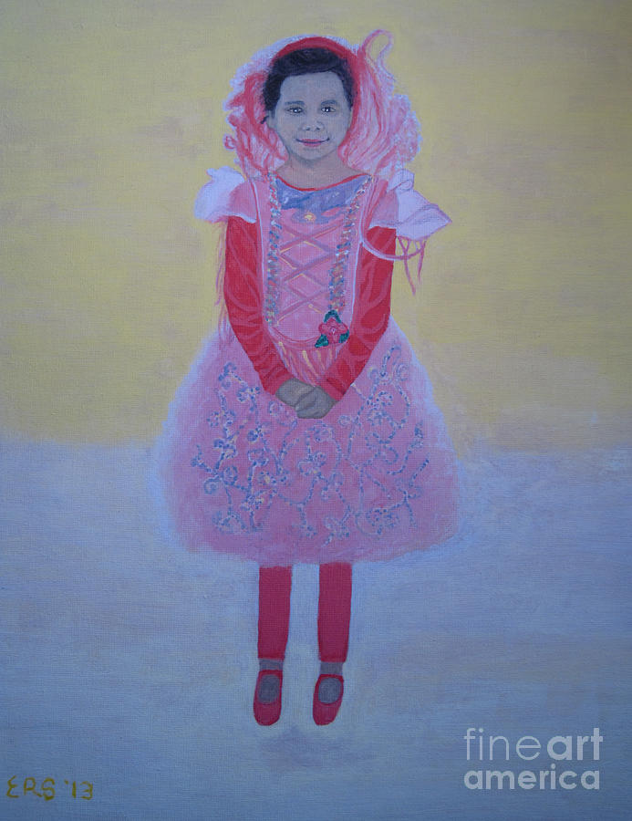 Young Girl Painting - Princess Needs Pink New Hair by Elizabeth Stedman