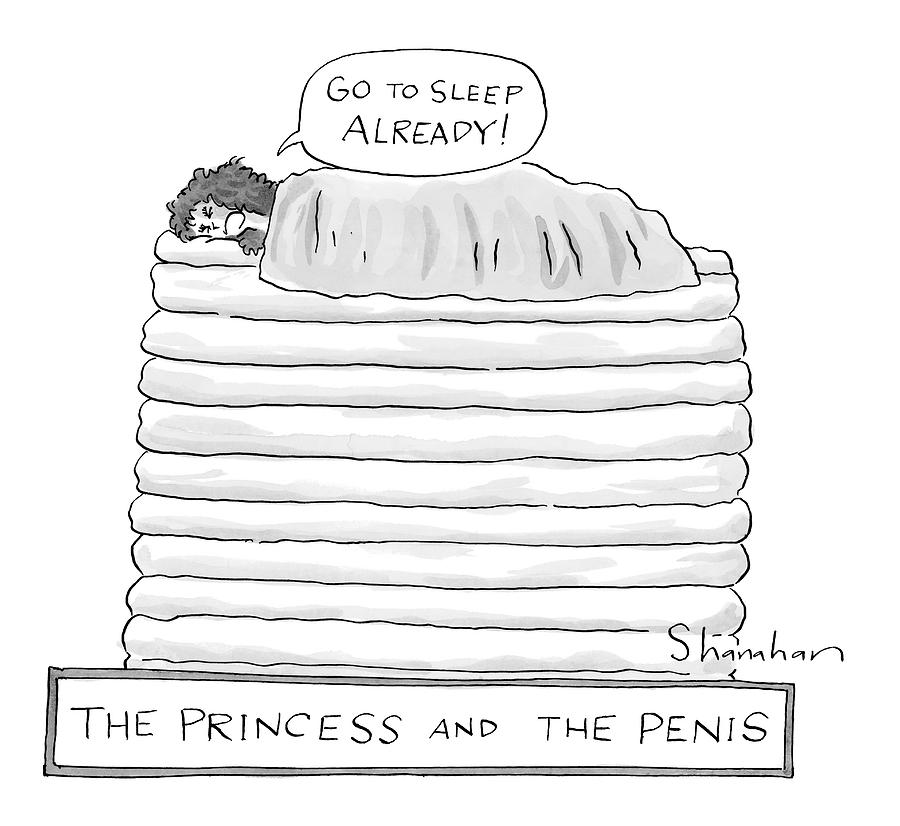 Princess On Top Of A Lot Of Mattresses Drawing by Danny Shanahan
