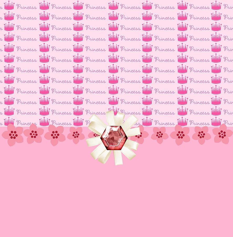 Diamonds Digital Art - Princess Pink Crowns by Debra  Miller