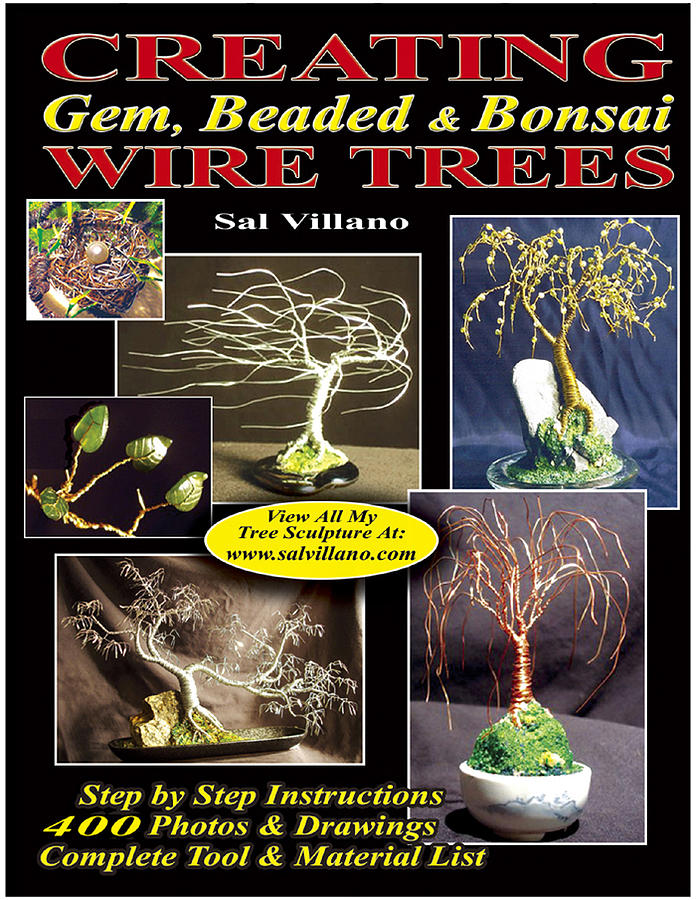 Book Sculpture - Printed Book Creating Gem Beaded And Bonsai Wire Trees by Sal Villano