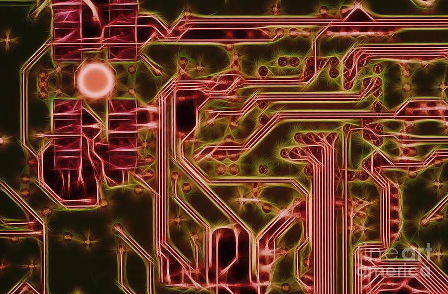 Printed Digital Art - Printed Circuit - Motherboard by Michal Boubin