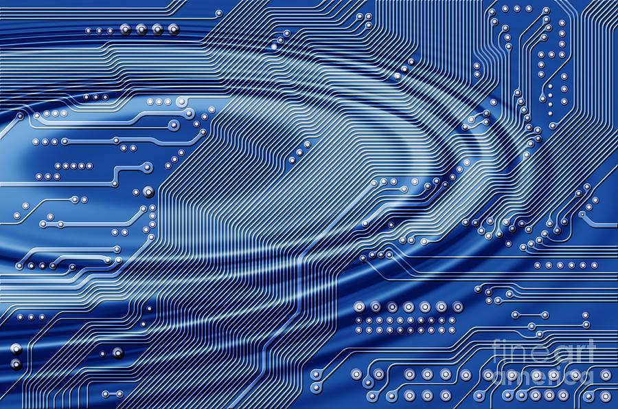 Printed Digital Art - Printed Circuit With Waves by Michal Boubin