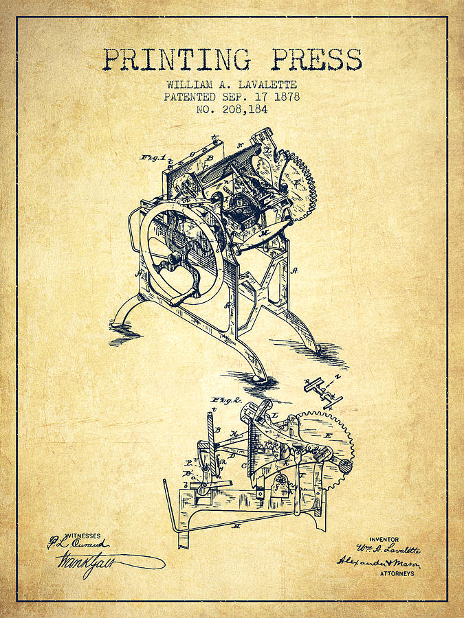 Printing Press Patent From 1878 Vintage Digital Art By