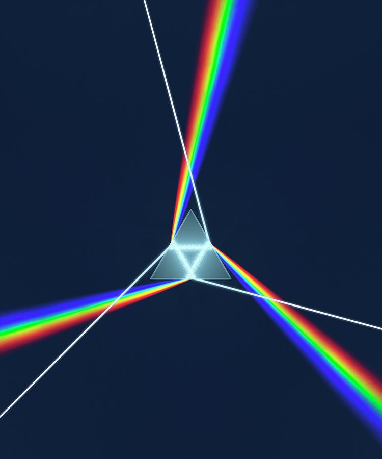 Blue Photograph - Prism And 3 Spectrums by David Parker
