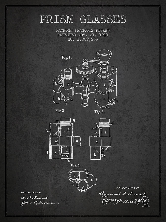 Prism Glass Digital Art - Prism Glasses Patent From 1911 - Dark by Aged Pixel