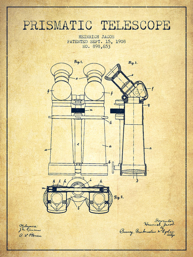 Telescope Digital Art - Prismatic Telescope Patent From 1908 - Vintage by Aged Pixel