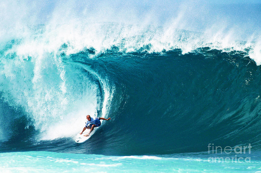 Kelly Slater Photograph - Pro Surfer Kelly Slater Surfing in the Pipeline Masters Contest by Paul Topp