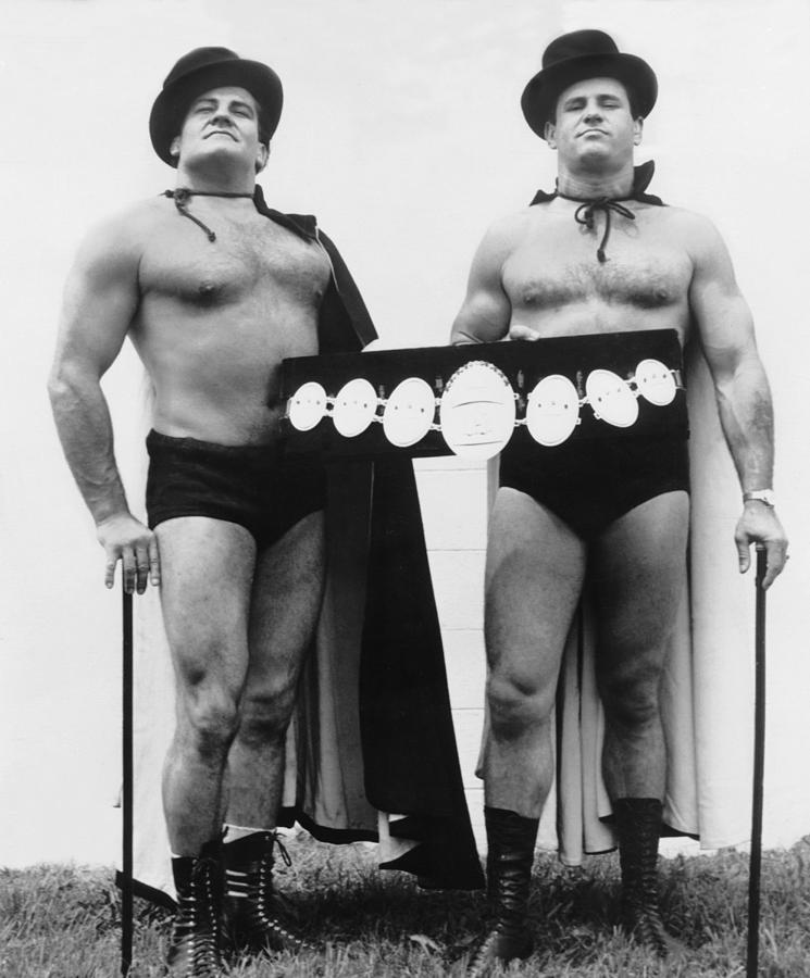 1960s Photograph - Pro Wrestlers Portrait by Underwood Archives