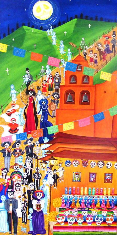 Sugar Skulls Painting - Procession by Evangelina Portillo
