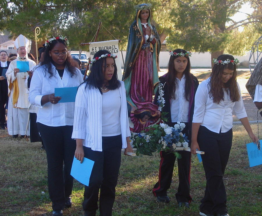Procession With Statue Virgin Of Guadalupe St Michael And All Angels Liberal Catholic Church Casa Gr Photograph by David Lee Guss