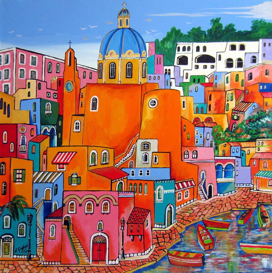 Procida Painting - Procida Houses by Roberto Gagliardi