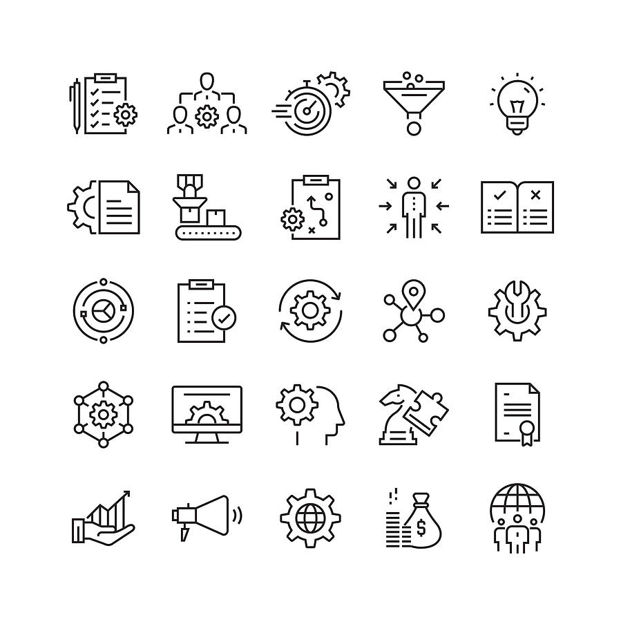 Product Management Related Vector Line Icons Drawing by Cnythzl