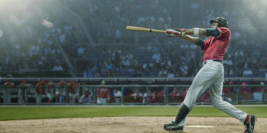 Professional Baseball Player Hits Ball In Mid Swing During Game Photograph by Peepo