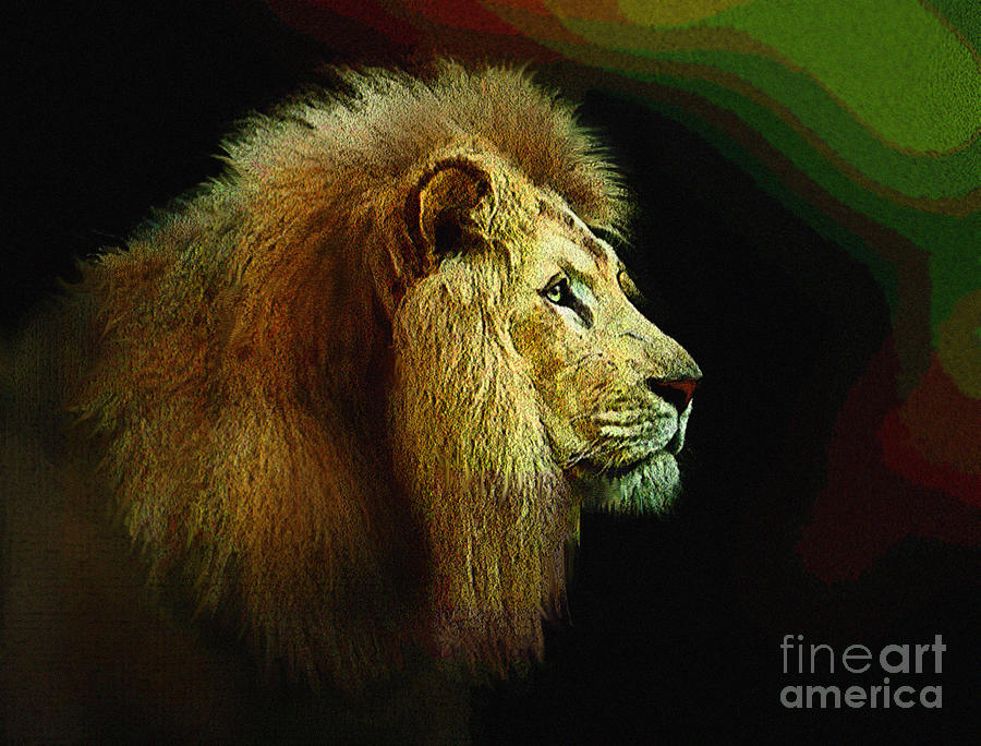 Lion Painting - Profile Of The Lion King by Robert Foster