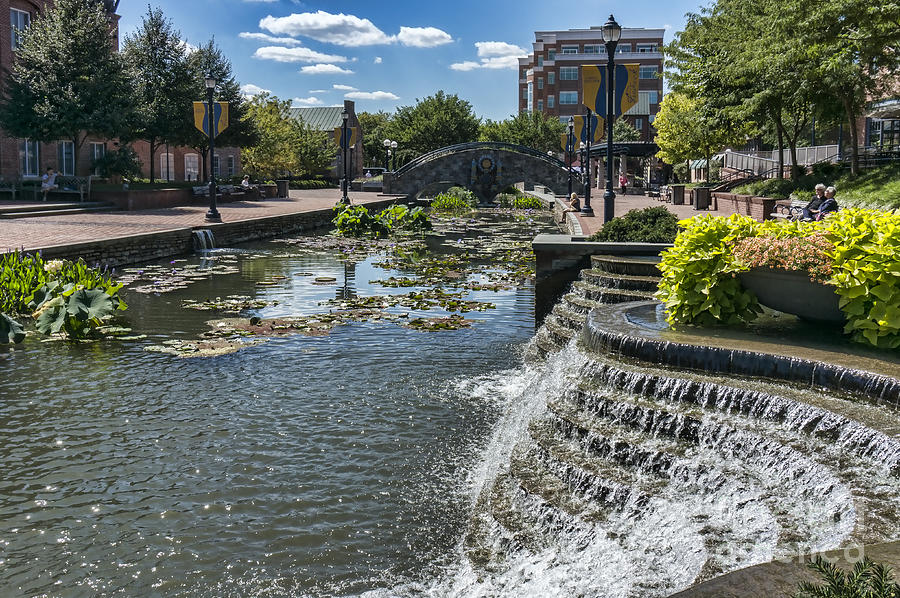 Linear Park Photograph - Promenade And Waterfall In Carroll Creek Park In Frederick Mary by William Kuta