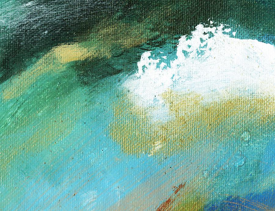 Abstract Painting - Propel Aqua Blue Gold by L J Smith