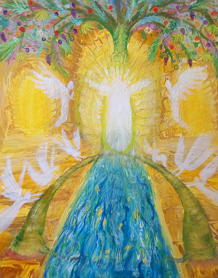 Prophetic Painting - Prophetic Message Sketch 11 Two Trees Become One Tree And River Of Life by Anne Cameron Cutri