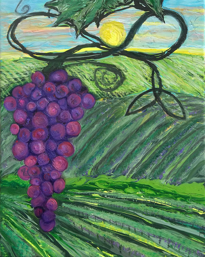 Prophetic Painting - Prophetic Message Sketch 18 Vineyard Infinity Trinity by Anne Cameron Cutri