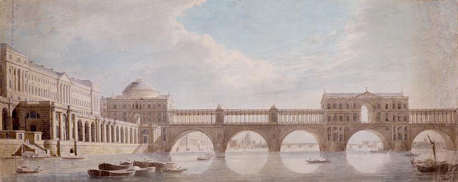 Water Drawing - Proposed Design For A Bridge by Thomas Sandby