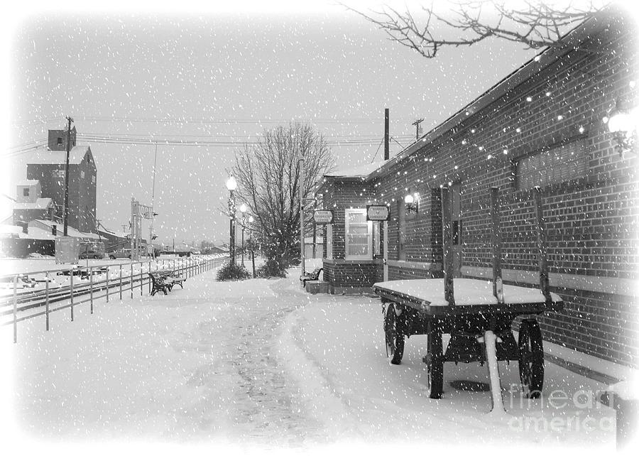 Winter Photograph - Prosser Winter Train Station  by Carol Groenen