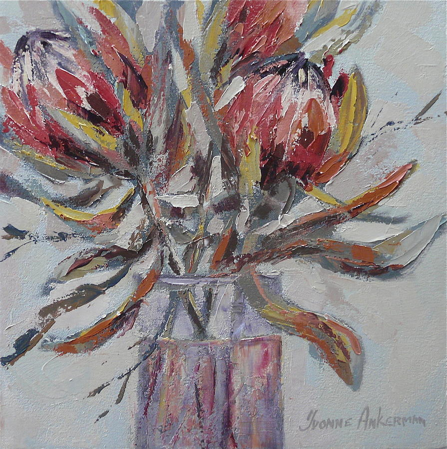 Proteas in glass vase painting by yvonne ankerman flowers painting proteas in glass vase by yvonne ankerman reviewsmspy