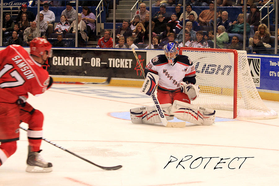 Ice Hockey Photograph - Protect by Karol Livote