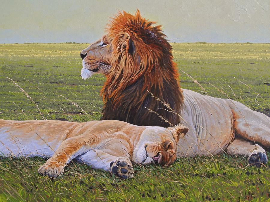 Lions Painting - Protecting The Queen by Aaron Blaise