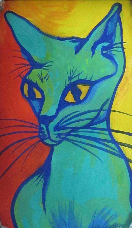 Blue Cat Painting - Proud Cat by Cherie Sexsmith