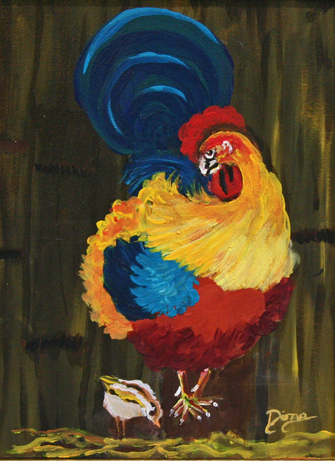 Animals Painting - Proud Daddy by Dina Jacobs