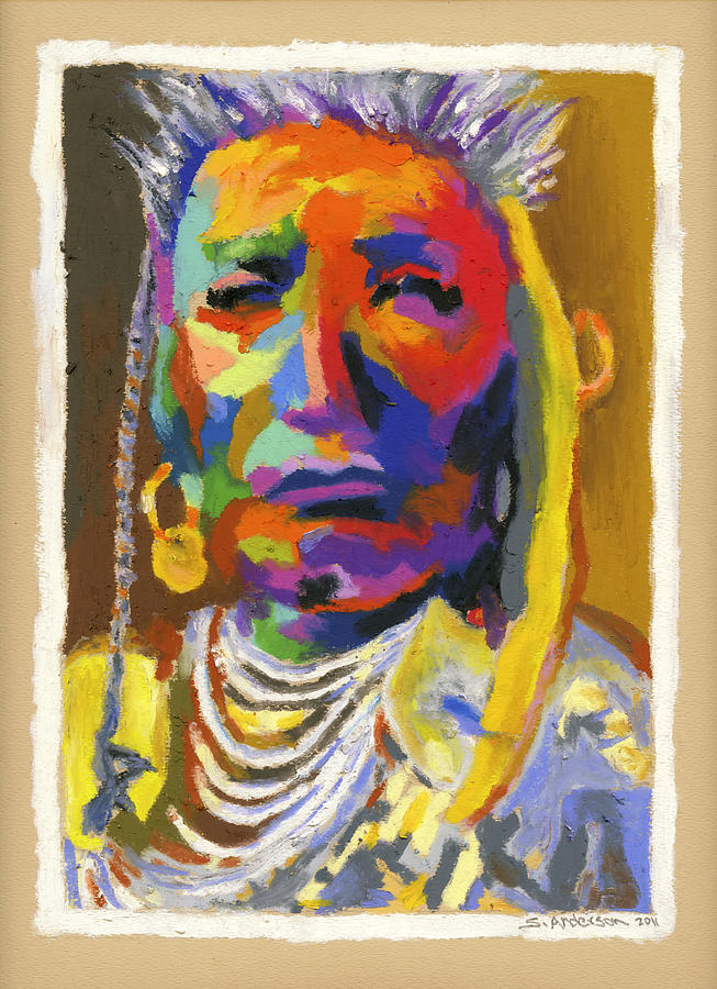 Indian Painting - Proud Native American by Stephen Anderson