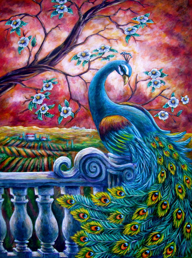 Proud peacock painting by sebastian pierre for Large artwork for sale