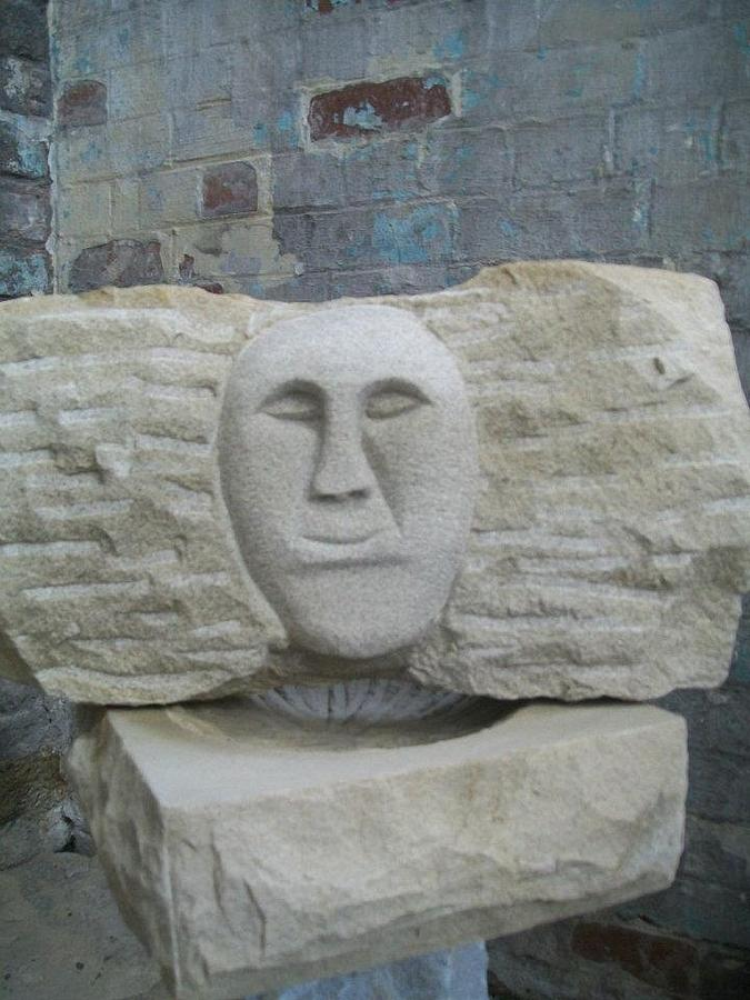 Stone Sculpture - Proud Smiling Face by Stephen Nicholson