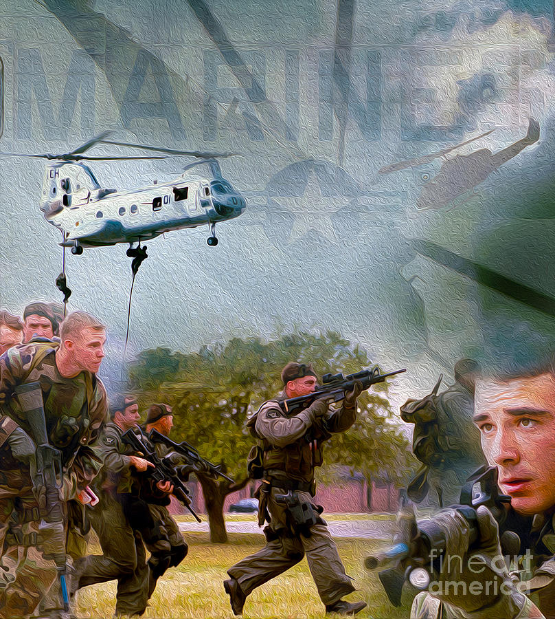 Marines Mixed Media - Proud To Serve by Jon Neidert