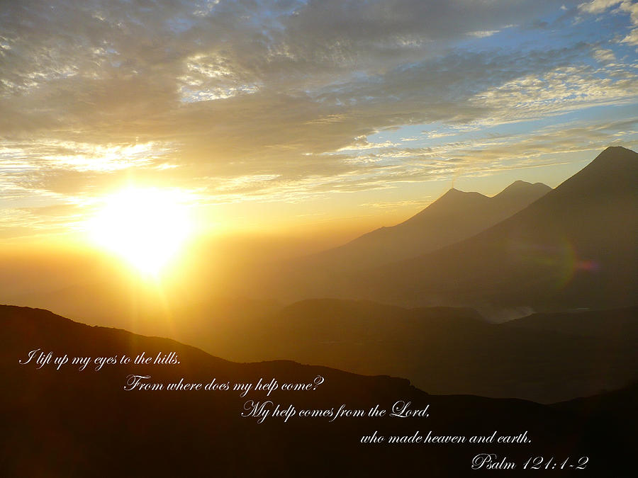 Scripture Photograph - Psalm 121 1 2 C by Nicki Bennett