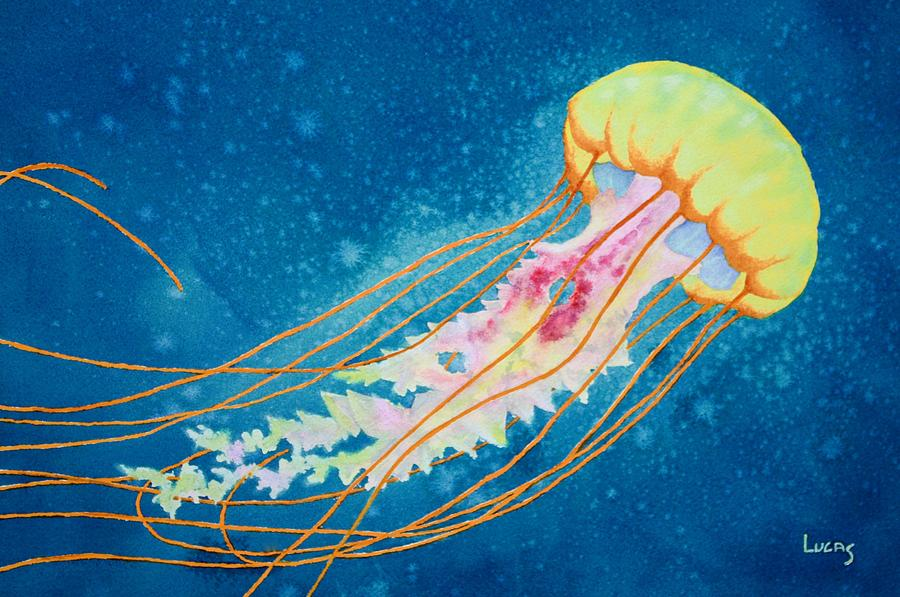 Jellyfish Painting - Psychadelic Jelly by Jeff Lucas
