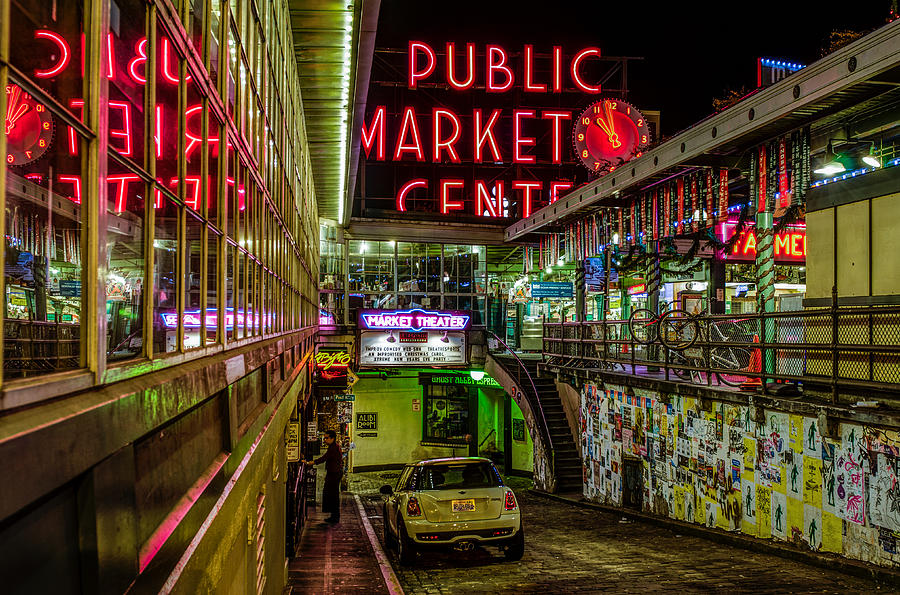 Seattle Photograph - Psychadelic Midnight Colors At Pike Place Market by Brian Xavier