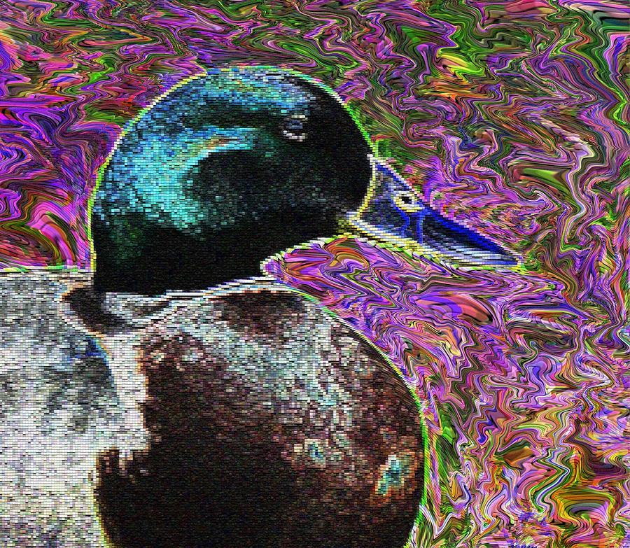 Duck Digital Art - Psychedelic Anatidaephobia by Lisa Brandel