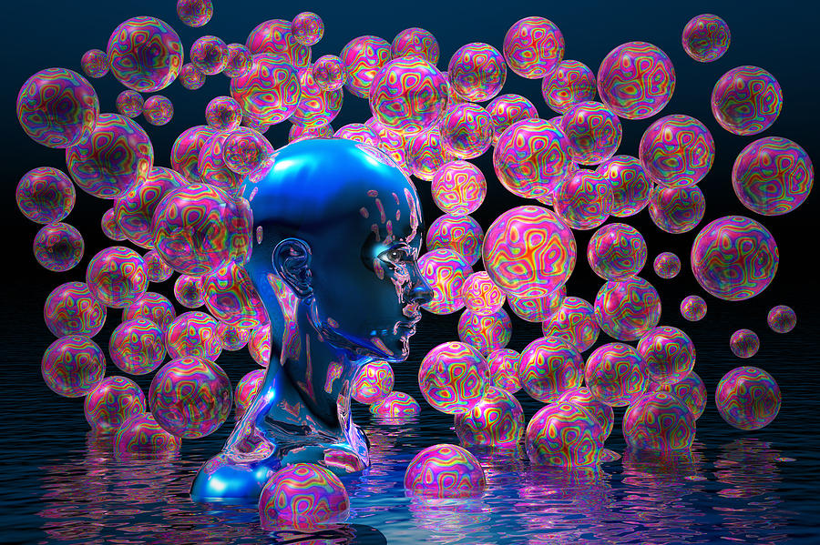 Bubbles Digital Art - Psychedelic Bubbles by Carol and Mike Werner