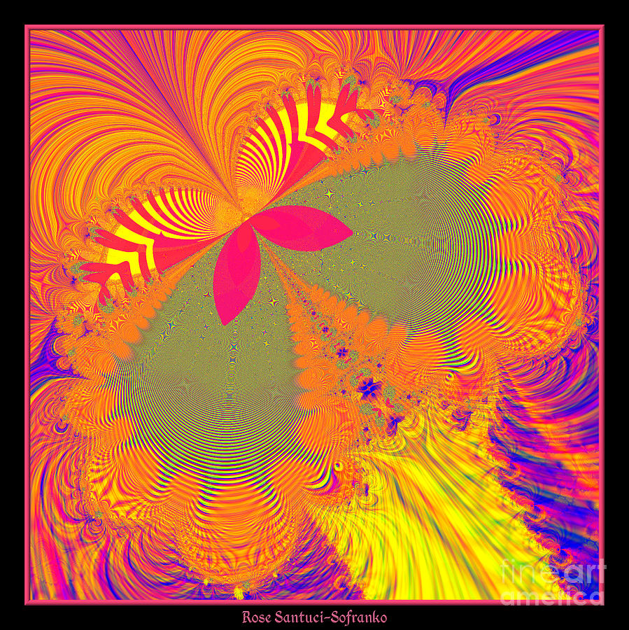 Psychedelic Digital Art - Psychedelic Butterfly Explosion Fractal 61 by Rose Santuci-Sofranko