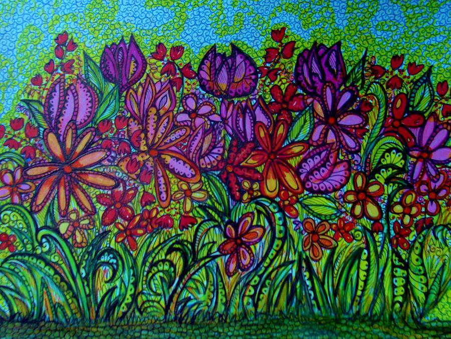 Psychedelic Flower Garden Drawing by Gerri Rowan