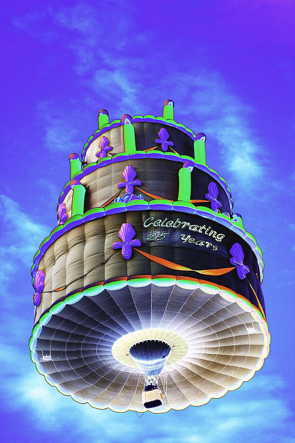 Terrific Psychedelic Hot Air Balloon Birthday Cake 25 Years Photograph By Funny Birthday Cards Online Necthendildamsfinfo