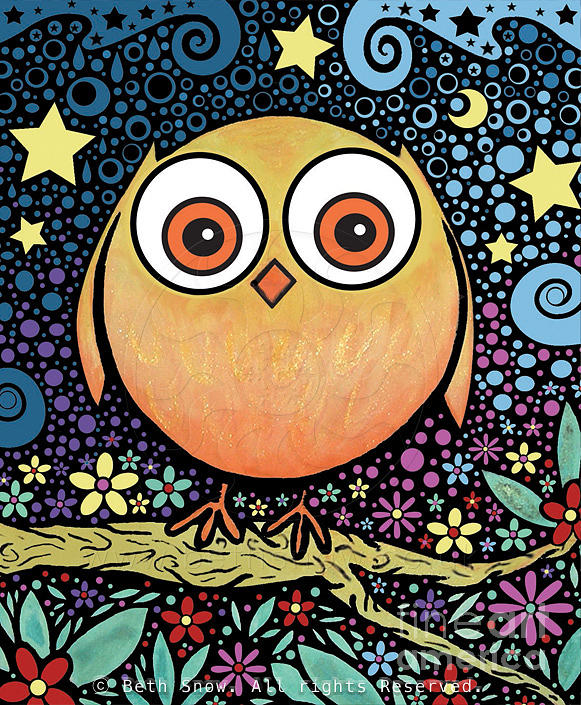 Psychedelic Owl Painting by Beth Snow