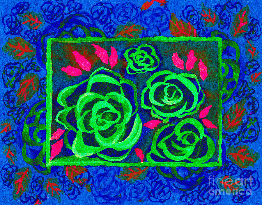 Abstract Roses Mixed Media - Psychedelic Roses - Winter by Beverly Claire Kaiya