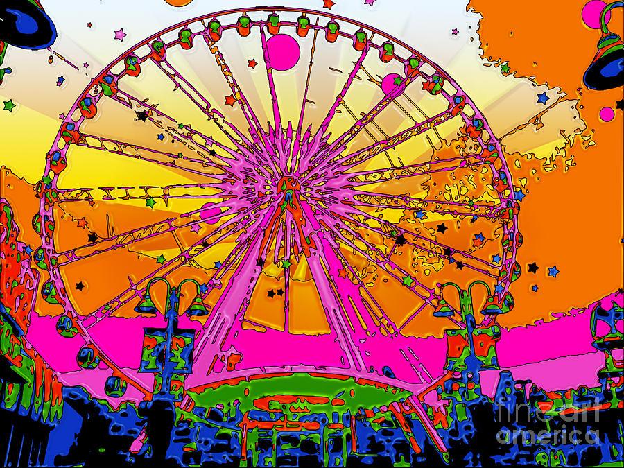 Ferris Wheel Digital Art - Psychedelic Sky Wheel by Terry Weaver