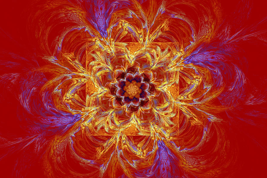 Round Photograph - Psychedelic Spiral Vortex Red Orange And Blue Fractal Flame by Keith Webber Jr