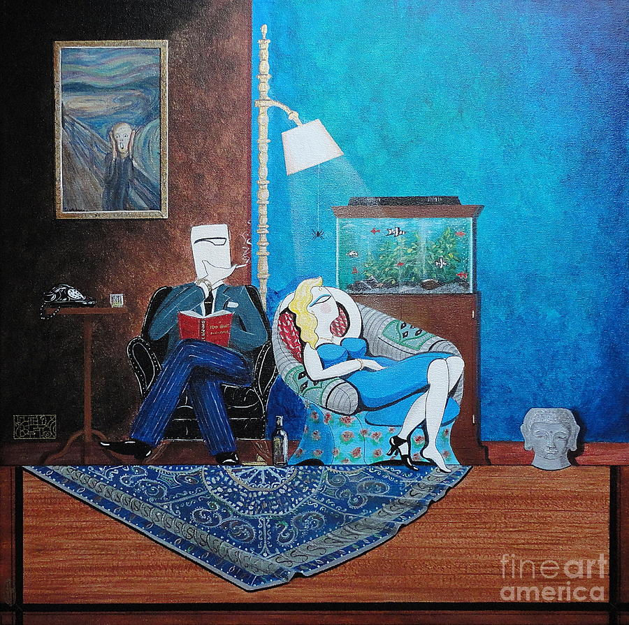 Painting Painting - Psychiatrist Sitting In Chair Studying Spiders Reaction by John Lyes