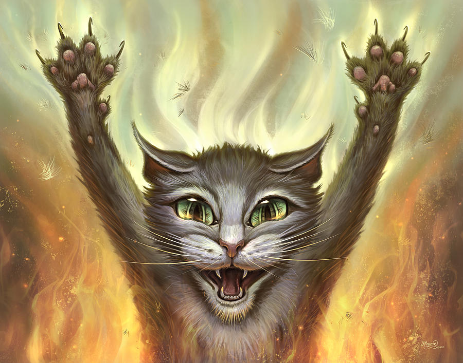 Psycho Painting - Psycho Cat by Jeff Haynie