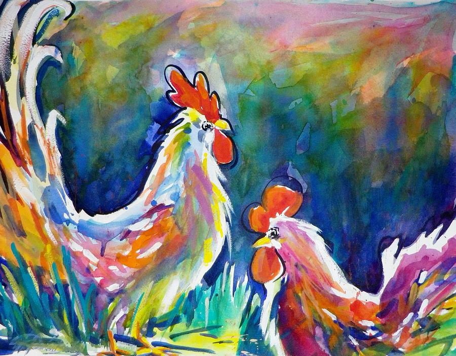 Roosters Painting - Psychodelic Cluckers by Therese Fowler-Bailey