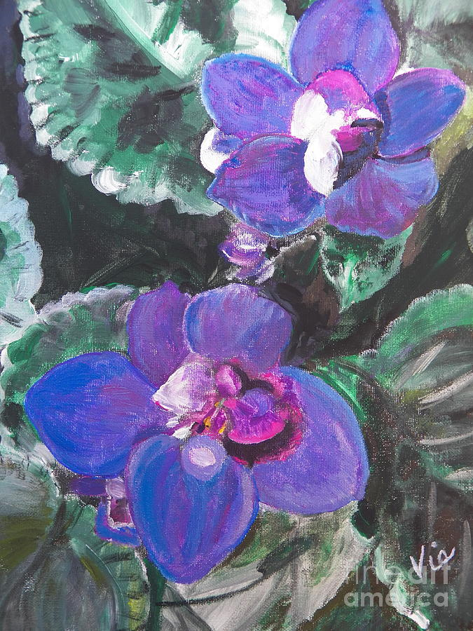 African Violets Painting - ptg   African Violets by Judy Via-Wolff