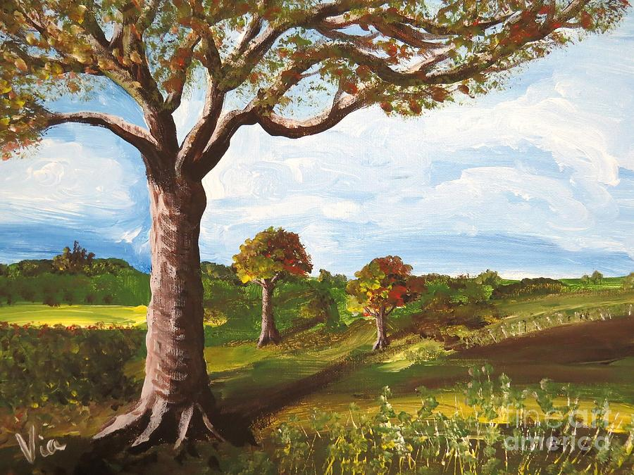 Landscape Painting - Ptg. Late September Light by Judy Via-Wolff
